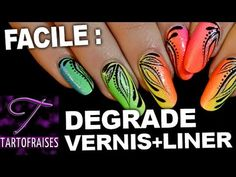 Nail art vernis dégradé rainbow Miami beach