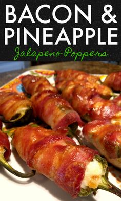 Bacon & Pineapple Jalapeno Poppers An amazing appetizer recipe for jalapeno peppers stuffed with a pineapple cream cheese filling wrapped in bacon then basted with barbeque sauce. Best Appetizer Recipes, Healthy Recipes, Bacon Recipes, Best Appetizers, Mexican Food Recipes, Cooking Recipes, Healthy Food, Game Recipes, Party Food Recipes