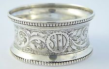 Antique Monogrammed SFD 1897 Solid Sterling Silver Napkin Ring H J Cooper LAYBY