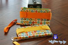 Yellow and Orange Owl Della Wallet Clutch by MissBossyBags on Etsy