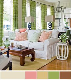 1 фоновый оттенок (более длинный участок на палитре) — это, как правило, цвет стен + 4 дополняющих оттенка — цвета для деталей интерьера (мебели, штор, ковров и мелкого декора).