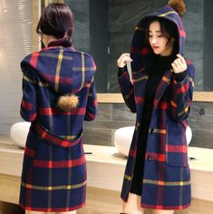 Fashion Plaid Parka Dress Hooded Wool Blend Trench Long Coat Peacoat Womens If it was in a different color it'd be perfect! Winter Coats Women, Coats For Women, Clothes For Women, Plaid Coat, Plaid Jacket, Wool Coat, Parka Coat, Hoodie Jacket, Tartan Clothing