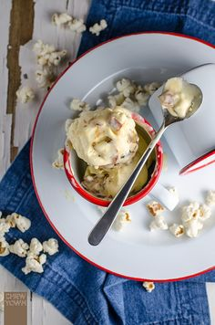 No-Churn Buttered Popcorn and Candied Bacon Ice Cream | Chew Town Food Blog