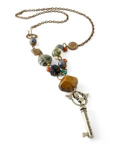 necklace - like the idea of a long necklace with a key or something on the end and colorful beads but not exactly this