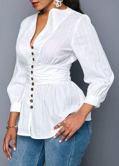 trendy tops for women online on sale Casual Tops For Women, Dressy Tops, Blouse Styles, Blouse Designs, Black Bathing Suit Top, Black Fur Coat, Botas Sexy, Oxford White, Formal Blouses