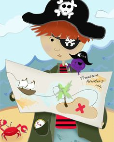 Pirate Map Adventure - High quality Giclee canvas reproduction perfect for any pirate themed nursery or kids room decor.