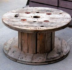 Cable Spool Tables; the site I pinned this from has the best collection of pictures/ideas I've seen for spools. When I was a kid my Dad brought one of these home. I loved it! It was my outside play table & I'd roll it around the yard. A great wood piece to repurpose!