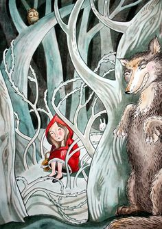 Little Red Riding Hood, #illustration #art by Brenna Vaughan [see artist here: http://www.kidshannon.com/artists.php?artist=brennavaughan#url=artists/vaughan/fs/old_lady_1081511 ]