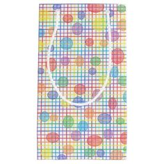 Rainbow Weave and Polka Dots Gift Bag Small Gift Bag #zazzle #giftbags #rainbow #weave #polkadots #art