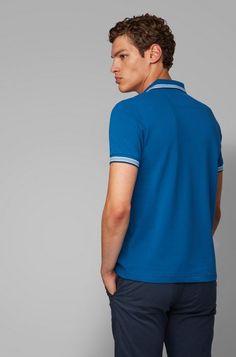 BOSS - Polo regular fit con tapeta de 3 botones Hugo Boss, Polo Shirt, T Shirt, Mens Tops, Fashion, Staple Pieces, Clothing, Black Button, Black Stripes
