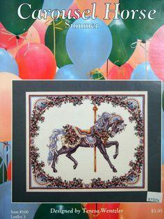 Teresa Wentzler Summer Carousel Horse Vintage Cross Stitch by NeedANeedle, $5.75