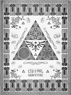 Legend of Zelda Triforce of Hyrule Letterpress by studiomuku