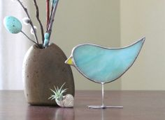 Robin Egg Blue Spring Chick Stained Glass Bird by SNLCreations, $25.00 adorable for a windowsill!