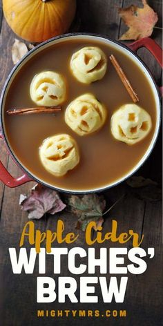 Channeling my inner Martha today with this Witch-brewed Cider with Apple Heads. A fun and super easy treat for fall. Halloween Punch For Kids, Halloween Apples, Halloween Food For Party, Halloween Ideas, Creepy Halloween Food, Best Apple Recipes, Fall Recipes, Holiday Recipes, Spiked Apple Cider
