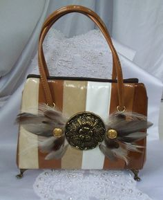 Autumn# striped purse# brass# feathers and feet,# vintage# handbag,# upcycled,# OOAK