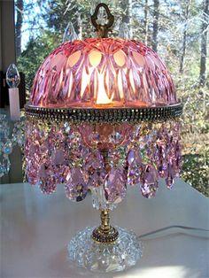 Beautiful pink crystal lamp