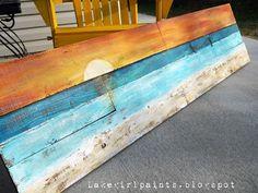 DIY: Lake Girl Paints: Sunset Beach Art from Fence Boards - Beach Decor/Sea Shells - Diy deko Sunset Beach, Beach Art, Beach Mural, Sunset Art, Diy Wall Art, Diy Art, Arte Pallet, Art Plage, Beach Signs