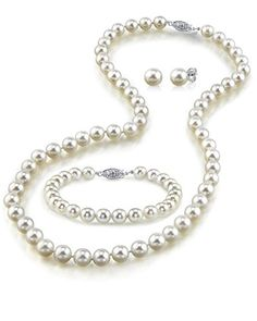 THE PEARL SOURCE 14K Gold 8-9mm AAAA Quality White Freshwater Cultured Pearl Necklace for Women in 17 Princess Length