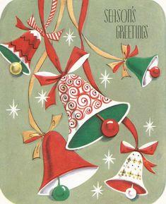 Vintage bells Christmas card digital download printable instant image by BigGDesigns on Etsy