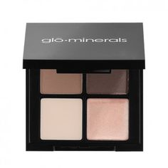 Brow Quad by glo minerals. Fill, shape and define the perfect brow with this all-in-one quad. Includes two colors to customize your shade plus a highlighter and a wax.