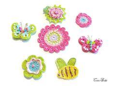 Crochet colorful appliques Set of 7 crochet by CreArtebyPatty