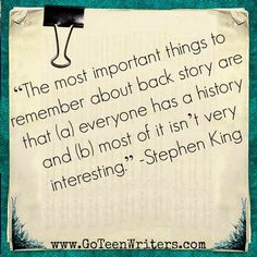 Stephen King on novel writing and back story. Editing Writing, Writing Advice, Writing A Book, Writing Prompts, Writing Ideas, I Am A Writer, Book Writer, Stephen King Quotes, Writing Motivation