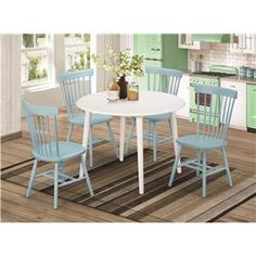 Emmett 5 Piece Dining Set with White Round Table and 4 Spindle-Back Chairs in Light Blue
