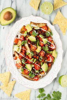 Black Bean and Potato Nacho Plate | 25 Meat-Free Clean Eating Recipes That Are Actually Delicious