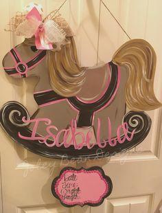 Joley Bean Designs, baby girl door hanger, rocking horse