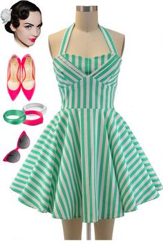 Brand new in store at Le Bomb Shop! Find it here: http://www.ebay.com/itm/50s-Style-Mint-STRIPEY-TRAVELING-CUPCAKE-TRUCK-Dress-HALTER-Petal-Bust-/140994556697?pt=US_CSA_WC_Dresses==item667a21713e
