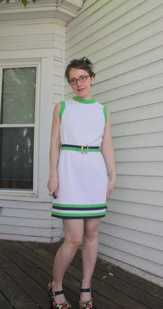 60s Mod White Dress Striped Sleeveless Casual Sporty by soulrust