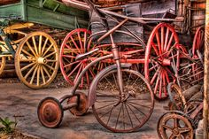 Wheels from long ago!! Our ancestors must have been very tough. These wheels do not look to provide a very soft or cushy ride!