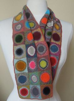 merino wool and hand dyed velvet centers: Coeur velvet small scarf by Sophie Digard