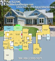 Architectural Designs Craftsman House Plan 15225NC has 3 beds | 4 baths | 2,900+ square feet of heated living space. Ready when you are. Where do YOU want to build? #15225nc #adhouseplans #architecturaldesigns #houseplan #architecture #newhome #newconstruction #newhouse #homedesign #dreamhouse #homeplan #architecture #architect #houses #craftman