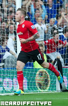 Aron Gunnarsson after scoring Cardiff City's first Premier League goal