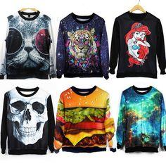 2015 Autumn Winter Women Men 3D Hoodies Pullovers Sweatshirts Sudaderas Harajuku Galaxy Top Skull Hamburger Cat Tiger Mermaid
