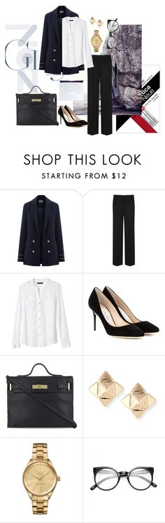 """Apple body type - Formal look"" by radhika76 on Polyvore featuring DKNY, Banana Republic, Jimmy Choo, Kurt Geiger, Valentino, Lacoste, Givenchy, WorkWear, apple and structured"