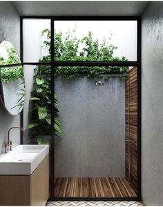 Outdoor Bathrooms 48132289756724935 - Considering a bathroom renovation? Bring the outdoors in and transform your bathroom into a stylish space with these affordable ideas using natural materials. Source by poshepoche Indoor Outdoor Bathroom, Outdoor Showers, Outdoor Baths, Indoor Outdoor Living, Outdoor Spaces, Natural Bathroom, Bad Inspiration, Shower Inspiration, Modern Family