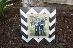Unique Christmas Gift, Distressed Picture Frame, 8x10 Frame, Burlap Picture Frame, Chevron Picture Frame