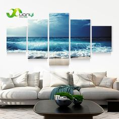 5 Panel Ocean Sea Wave Seascape Canvas Oil Painting Beach Wall Art Pictures For Living Room Modern Printing Unframed PF1207 on Aliexpress.com | Alibaba Group