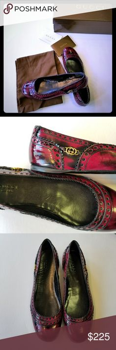 Red Gucci flats Cute red flats by Gucci excellent condition.  Old Wimbledon/city vernice soft Lt cherry-nero Gucci Shoes Flats & Loafers