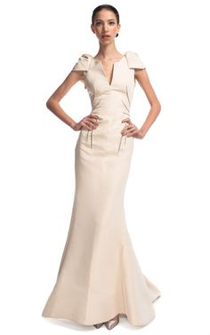 Ivory Short Sleeve Evening Gown by Zac Posen for Preorder on Moda Operandi $4990