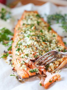 What do you get when you combine #delicious herbs & your favorite cheese? This absolutely #mouthwatering Feta and Herb Crusted Salmon!
