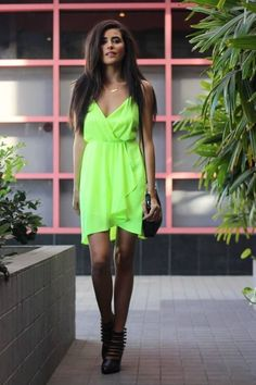 Little Neon Dress # Neon Outfits, Neon Dresses, Event Dresses, Spring Outfits, Cute Dresses, Beautiful Dresses, Short Dresses, Cute Outfits, Fashion Outfits