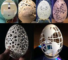 Lew Jensen, Don Lisk and Brian Baity and others have approached the art of egg shell carving in a variety of ways and with strikingly varied results.