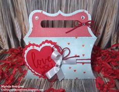 Jaded Blossom January Stamp Release: Day 1 - I used the NEW Fancy Valentine Stamp Set & the Pillow Box Die Set. I also used the Ric Rac Topper Die & Mini Tag Dies 2 from Jaded Blossom.