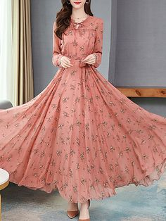 Round Neck Floral Printed Maxi Dress new styles every day from dresses, onesies, heels, & coats, shop womens clothing now. Buy Maxi Dresses Online, Cheap Maxi Dresses, Stylish Dresses, Cute Dresses, Girls Dresses, Chiffon Maxi Dress, Maxi Dress With Sleeves, Floral Maxi Dress, Floral Print Dresses