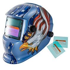 iMeshbean Auto Darkening Welding Helmet Solar Powered Hood Mask TN08E2 Grinding with Replaceable Extra Lens ANSI Approved Eagle Design Color Blue Red Golden USA Seller-Red Welding Jackets, Eagle Mask, Auto Darkening Welding Helmet, Types Of Welding, Basement Bar Designs, Eagle Design, Work Tools, Solar Power, Design Color