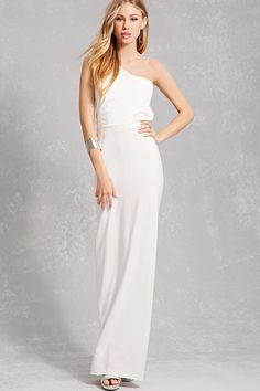 177050ba565 Forever 21 One-Shoulder Ruffle Gown One Shoulder Gown