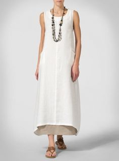 Off White Linen Sleeveless Long Dress